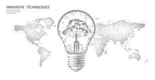Light bulb with tree on world map. Lamp saving energy ecology environment idea concept. Polygonal light electricity. Green energy power banner vector stock illustration