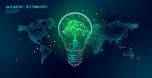 Light bulb with tree on world map. Lamp saving energy ecology environment idea concept. Polygonal light electricity. Green energy power banner vector vector illustration