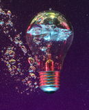Light bulb under water Stock Image