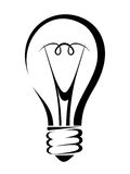 Light bulb. Vector black silhouette. Royalty Free Stock Photography
