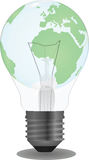 Light bulb vector. Light bulb with a globe inside vector Royalty Free Stock Images