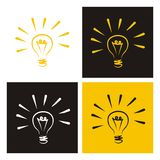 Light bulb vector icons doodle set creative sign. Light bulb vector icon - hand drawn doodle set isolated on white, black and yellow background. Sign of creative Stock Image