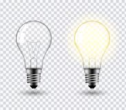 Light bulb vector. Vector image of a light bulb. Realistic 3d object on a transparent background. The effect of light. The symbol of creativity and ideas royalty free illustration