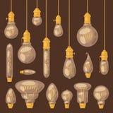 Light bulb vector lightbulb idea solution icon and electric lighting lamp illustration set of realistic electricity Vector Illustration