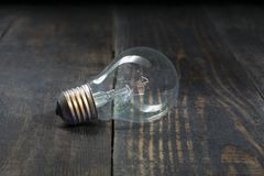 Light bulb. Vintage bulb insulated by the beauty of wood board fibers. Light bulb. Vintage bulb and not lit insulated by the beauty of wood board fibers stock photography