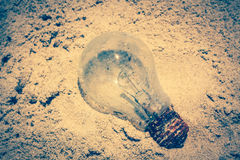 Light bulb was throw away on the beach. Royalty Free Stock Images