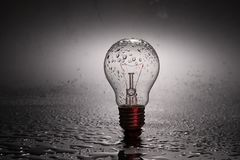 Light bulb with water drops Royalty Free Stock Photos