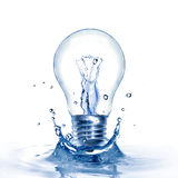 Light bulb with water and splash Stock Images
