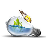 Light bulb with water wave Royalty Free Stock Photos