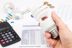 Light bulb whit calculator and euro coins Stock Photo