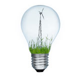 Light bulb and wind mill generator Royalty Free Stock Photo