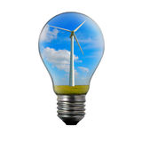 Light bulb with wind mill generator inside. Royalty Free Stock Image