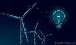 Light bulb windmills idea business concept. Ecology save environment wind green energy sustainable power. Eco global stock illustration