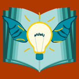 Light bulb with wings on the background of an open book. The acquisition of knowledge, erudition. Creative idea. The logo education vector illustration