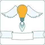 Light Bulb with Wings and Banner Royalty Free Stock Photo