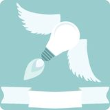 Light Bulb with Wings and Banner Stock Photo