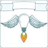 Light Bulb with Wings and Banner Stock Image