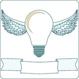 Light Bulb with Wings and Banner stock vector Stock Image