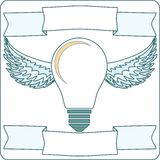 Light Bulb with Wings and Banners, Vector Stock Images
