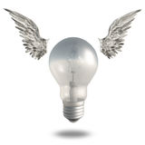 Light Bulb and Wings Stock Photography