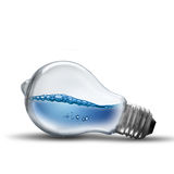 Light Bulb With Water Wave Stock Images