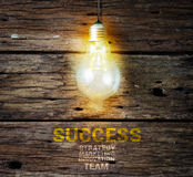 Light bulb on the wood wall, business concept Royalty Free Stock Images