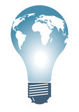 Light bulb with world continents Stock Images
