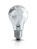 Light Bulb with World Map Stock Images
