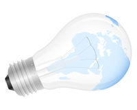 Light bulb world map Stock Photo