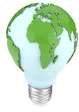 Light bulb and world map Stock Photography