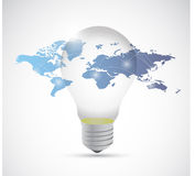 Light bulb and world map connection illustration Stock Photography