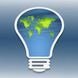 A light bulb. A world map inside of a light bulb Royalty Free Stock Photo