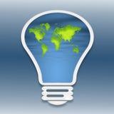 A light bulb. A world map inside of a light bulb royalty free illustration