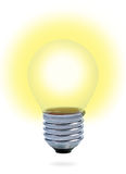 Light bulb with yellow light. Royalty Free Stock Images