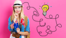 Light Bulb with young woman with flags. Of English speaking countries stock images