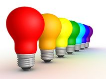 Light bulbs. Colored bulbs in a row on a white background, 3D render Stock Images