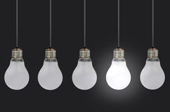 Light bulbs. One lit bulb amongst a row of unlit bulbs, signifying uniqueness or innovative ideas Royalty Free Stock Photos