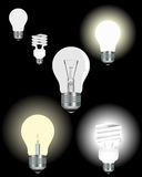 Light bulbs. Six different light bulbs on a black background Stock Photography