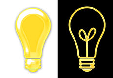 Light Bulbs. A pair of bright yellow light bulbs one one white and the other on black vector illustration
