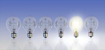 Light bulbs. A row of light bulbs, one turned on. Digital illustration stock illustration