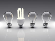 Light bulbs 3d rendering. Light bulbs 3d high resolution rendering. Concept of energy saving, individuality, leadership, diversity Royalty Free Stock Photo