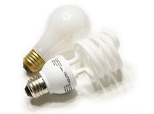 Light Bulbs. Two different light bulbs on white background Royalty Free Stock Images