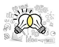 Light bulbs against brainstorm vector Royalty Free Stock Images