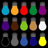 Light bulbs with all colors royalty free illustration
