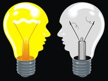 Light bulbs as human heads (ideas in brain) on the black backgro Stock Photo