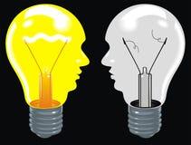 Light bulbs as human heads (ideas in brain) on the black backgro. Light bulbs as human heads (ideas in brain Stock Photo
