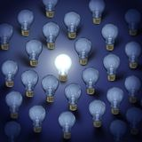 Light bulbs background. Light bulbs with one bright light on blue background vector illustration