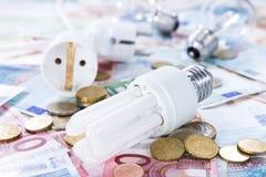 Light Bulbs on banknotes Royalty Free Stock Photos