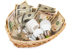 Light bulbs in the basket with money Stock Photography