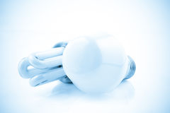 Light bulbs on a blue background color processed Royalty Free Stock Image